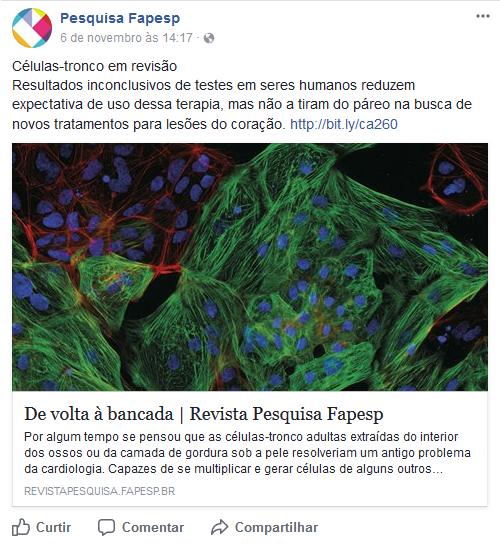 Publicação do facebook da revista Pesquisa FAPESP sobre a revisão dos resultados da pesquisa com células tronco