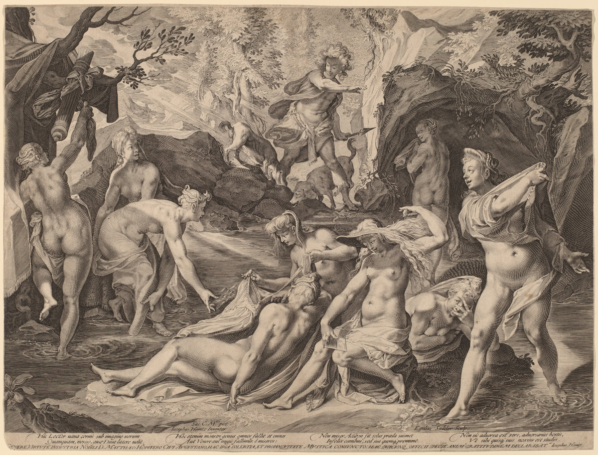 Aegidius Sadeler II After Joseph Heintz The Elder (Flemish, C. 1570 - 1629 ), Diana Surprised By Actaeon, , Engraving, Gift Of Ruth B. Benedict