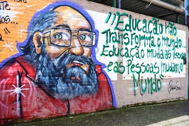Eugênio Magno – Quem Tem Medo De Paulo Freire – Mural Da Escola Municipal Paulo Freire, Do Bairro Cidade Nova, Caxias Do Sul. Foto Claudia Velho