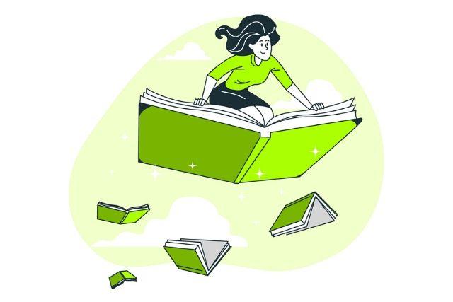 Ilustração Mulher Voando Num Livro – Stories Freepick