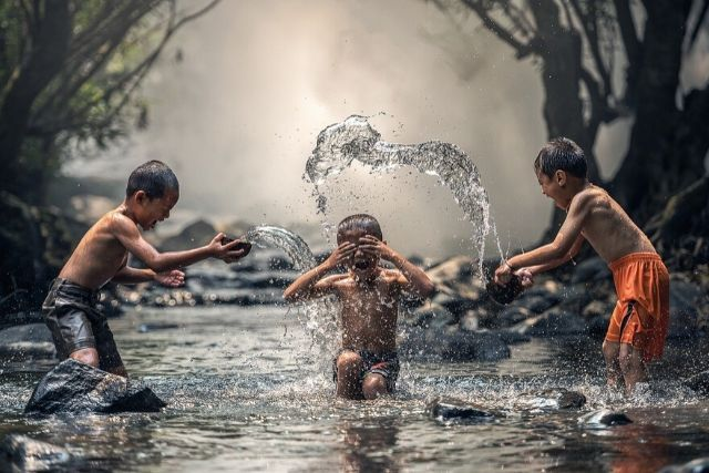 Cruanças Brincando Num Rio – Sasint   Pixabay
