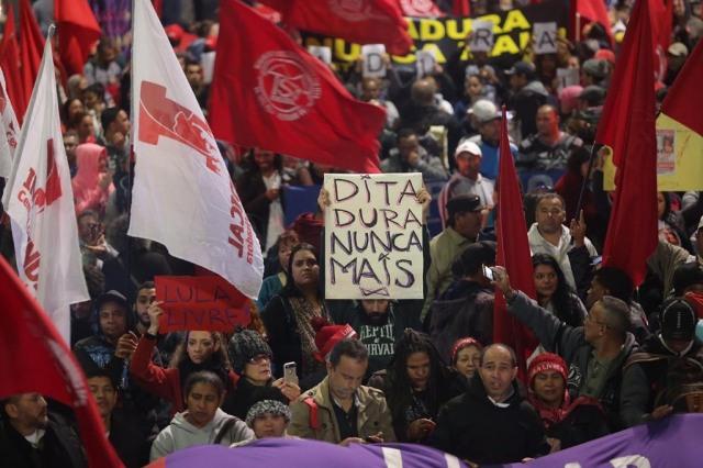 """São Paulo SP 05 08 2019-Ato """"Ditadura Nunca Mais"""" Na Avenida Paulista Com A Presença Da Sociedade Civil Sindicatos E Movimentos Sociais. Foto Paulo Pinto/Fotos Publicas"""